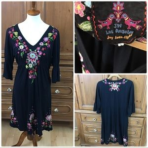 Johnny Was embroidered boho dress L large Blue